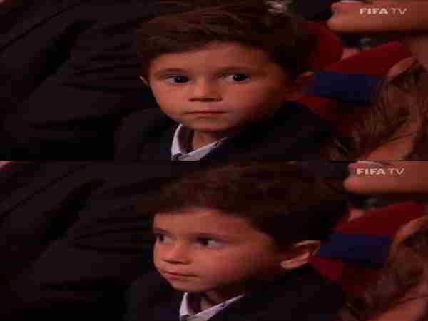 Con trai Messi gây sốt với biểu cảm đáng yêu khi cha nhận giải thưởng