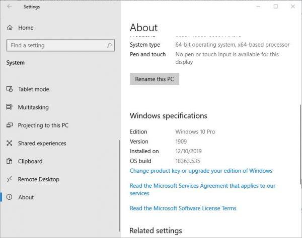 Kiểm tra phiên bản Windows 10 trong Settings Bước 2