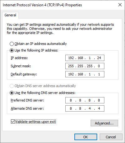 Sửa lỗi mạng chấm than bằng thiết Lập địa Chỉ IP tĩnh bước 2