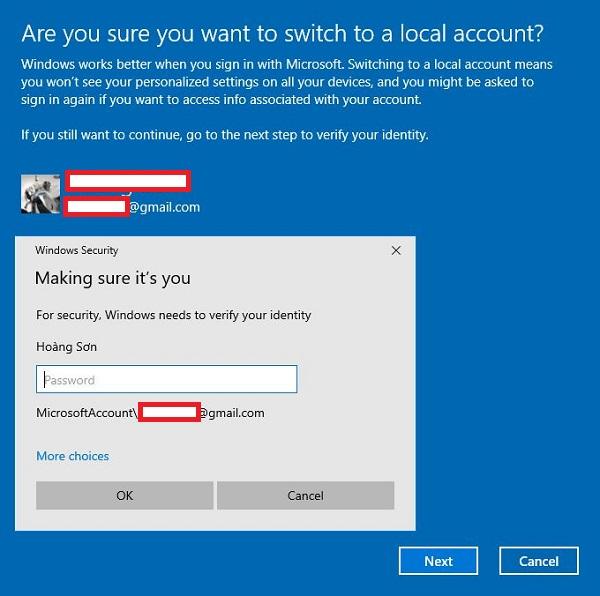 Hướng dẫn thoát tài khoản Microsoft trên Win 10bước 3